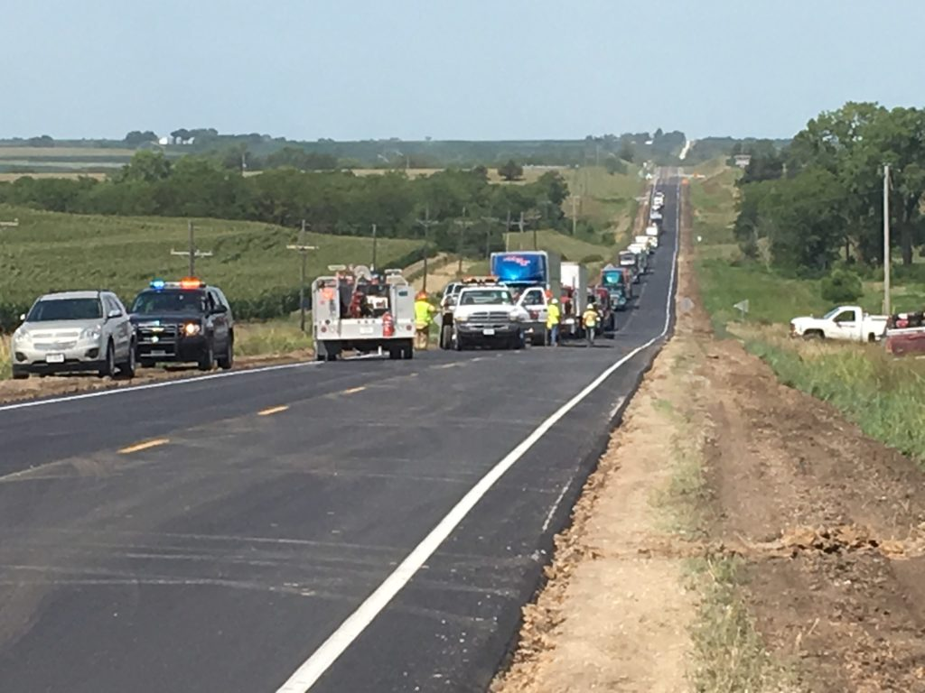 Multi-vehicle accident in construction zone brings traffic to a standstill on Highway 136