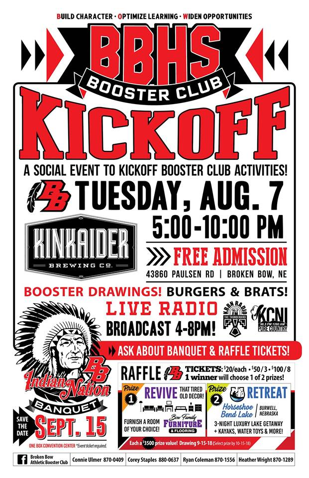 """Broken Bow High School Booster Club to Host Annual Fall Sports """"Kickoff"""" Celebration Tuesday Night"""
