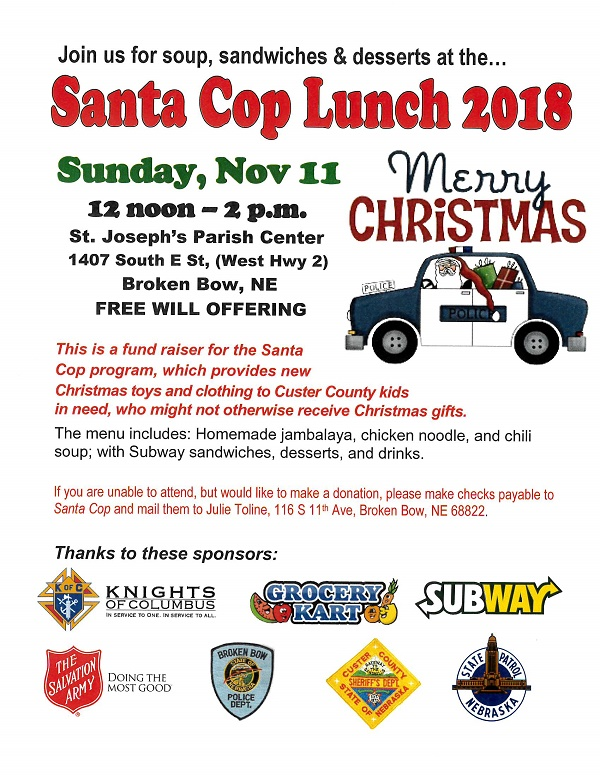 Mark Your Calendar For The Santa Cop Lunch!