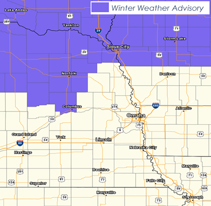 Winter Weather Advisory Extended Through Noon In Northeast, Central Nebraska