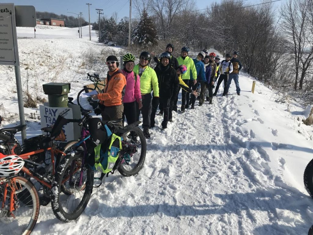 Cyclists make 21-mile winter trek to buy Wabash Trace trail passes