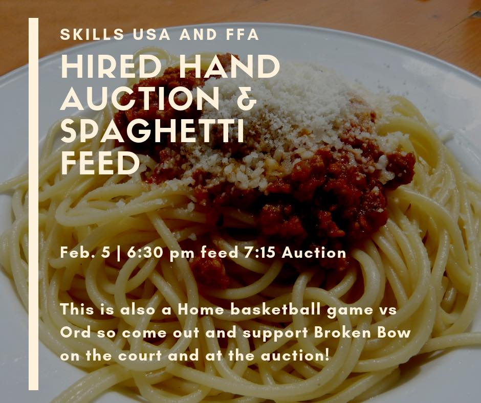 FFA and Skills USA Labor Auction and Spaghetti Feed