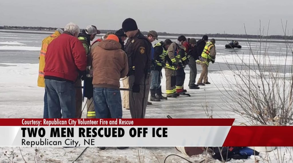 Two men rescued off ice in Harlan County Lake Saturday