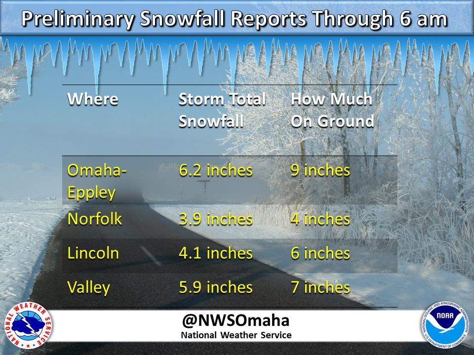 Preliminary snowfall reports through 6 AM