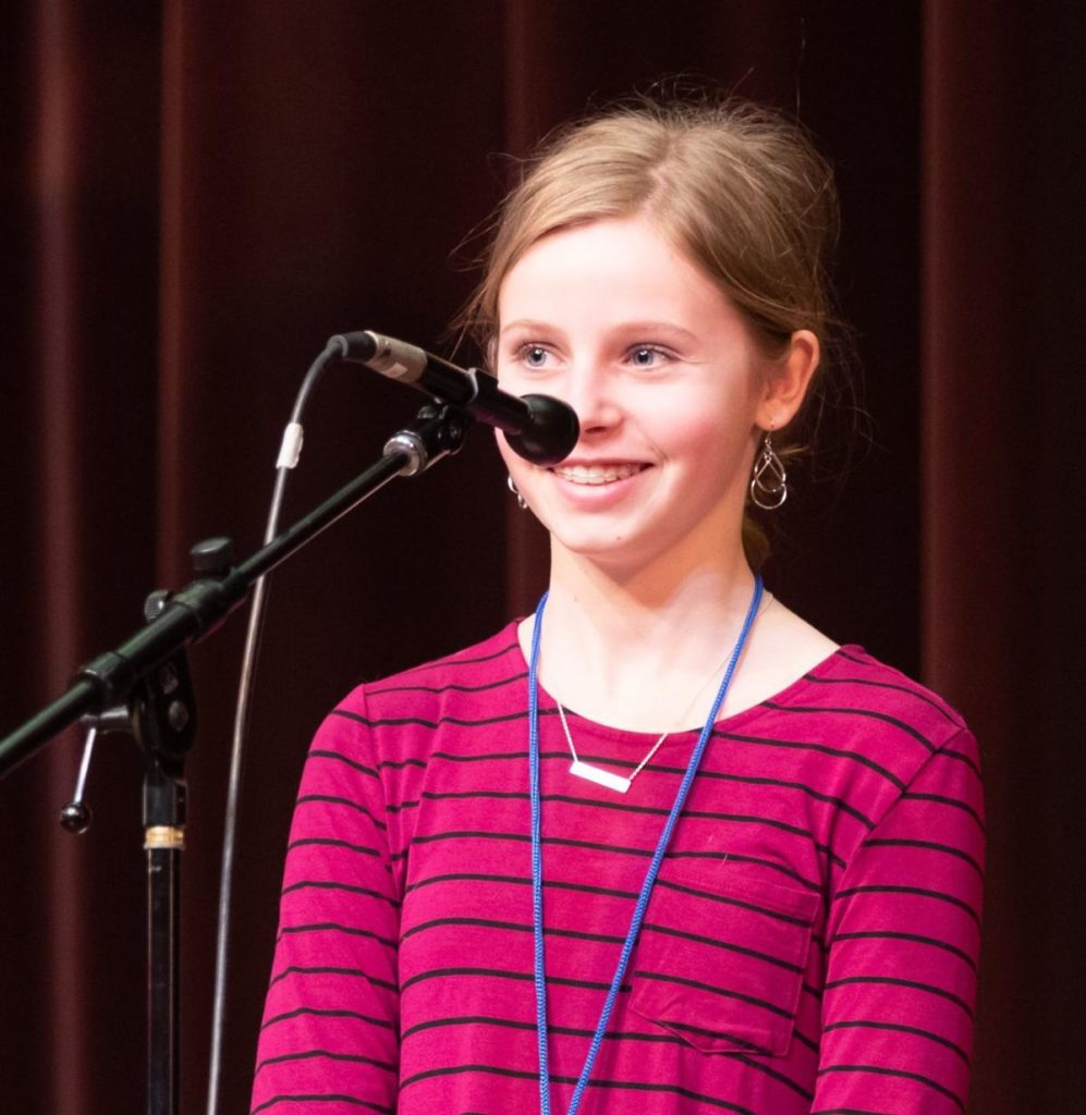 Seventh-grader from DeWitt will need a 'vitrine' for her 2019 Midwest Spelling Bee trophy