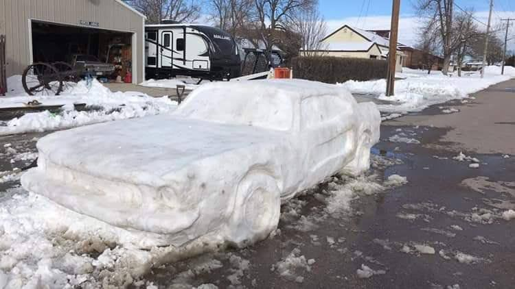 Nebraska family built a lifelike Ford Mustang out of snow, and a state trooper gave it a ticket