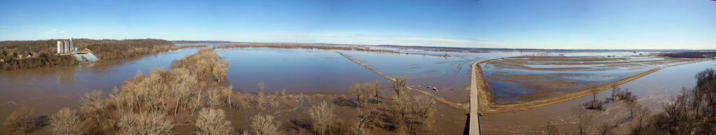 Drone footage shows flooding at Brownville, Nebraska