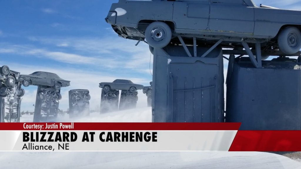 Snow piles up around Carhenge in Alliance