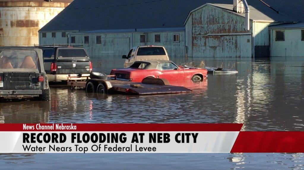 Missouri River raises to record flooding at Nebraska City