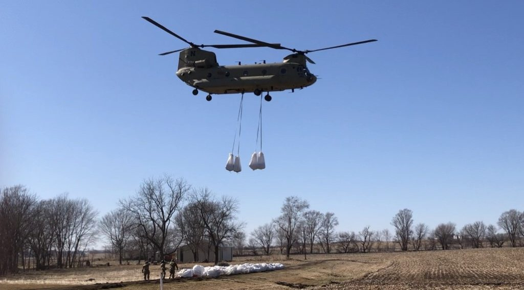 Chinook helicopters assist sandbagging operation at Cooper Nuclear Plant