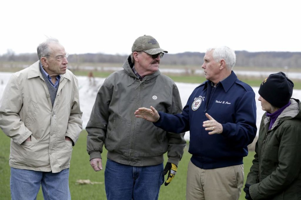 Mike Pence visits flooded Mills County, urges Congress to pass aid bill