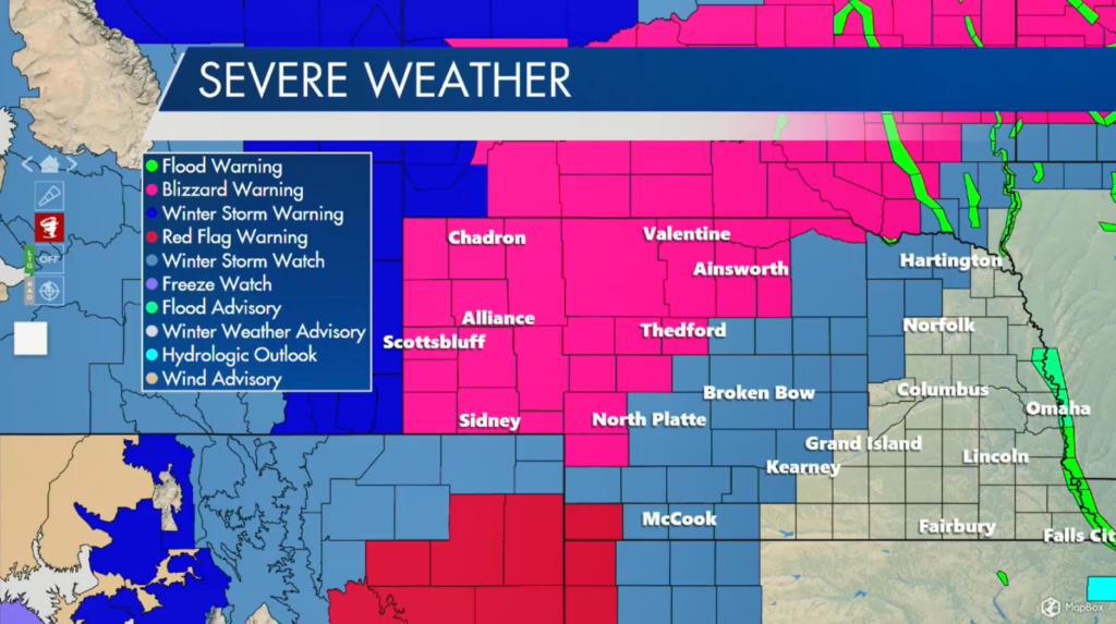 Map of Nebraska's severe weather