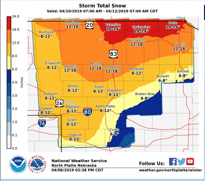 18-24 Inches Expected in North Central Nebraska
