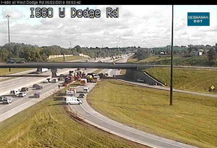 Cement truck overturns on Interstate 680 in Omaha