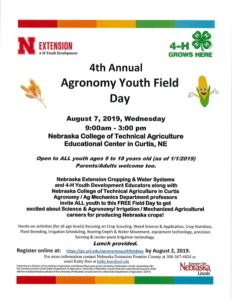 4th Annual Agronomy Youth Field Day Set For August 7 At NCTA Educational Center In Curtis