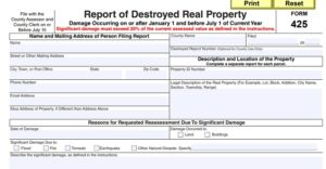 Dept. of Revenue Releases Report of Destroyed Real Property, Form 425