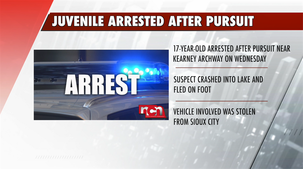 Juvenile arrested following pursuit near Kearney
