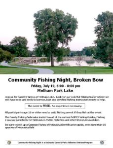 Nebraska Game And Parks Will Have Community Fishing Night At Melham Park Lake On Friday