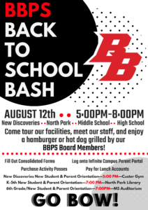 BBPS Back To School Bash On August 12 From 5-8 PM!