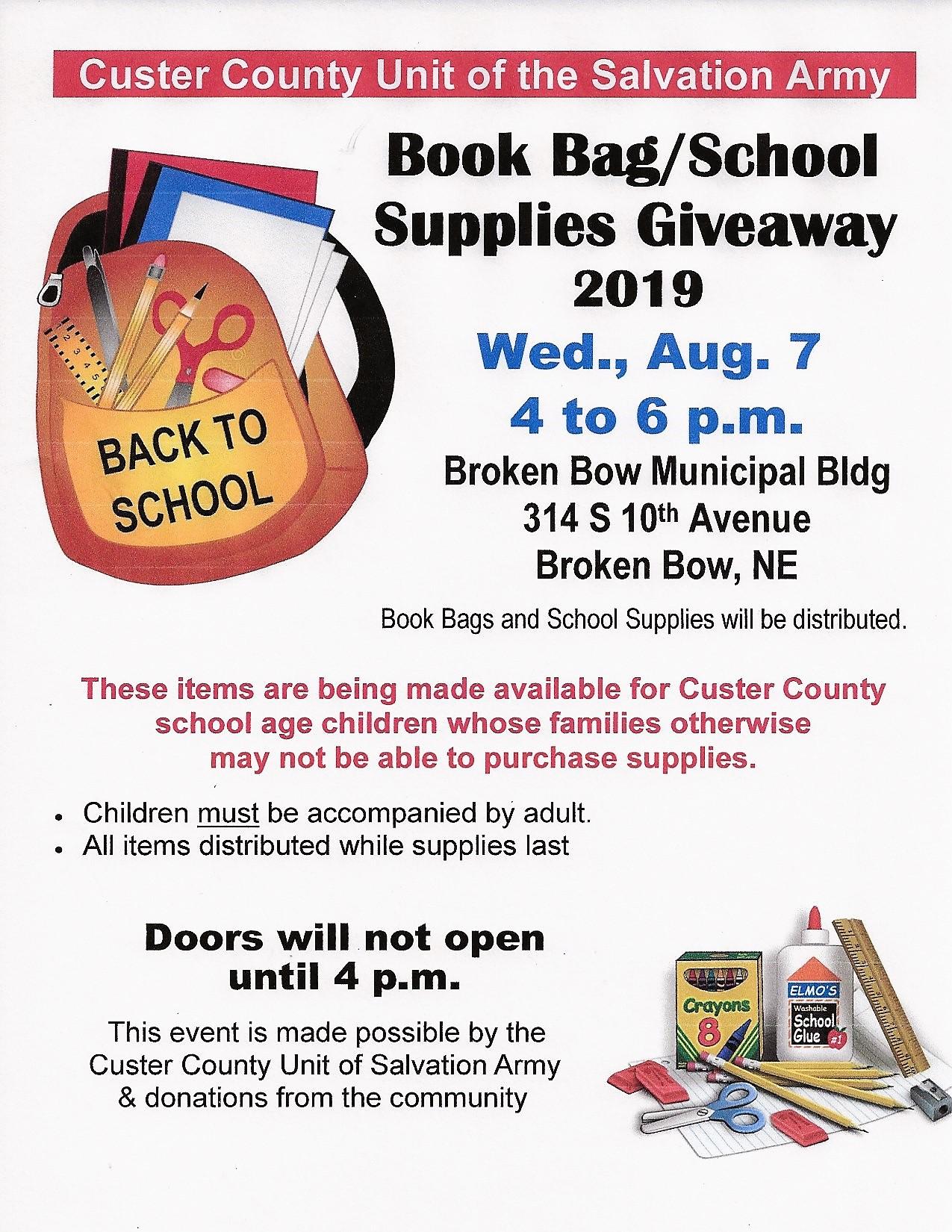 Book Bag/School Supplies Giveaway On August 7 | Sandhills