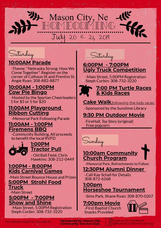 Mason City Homecoming this Saturday and Sunday