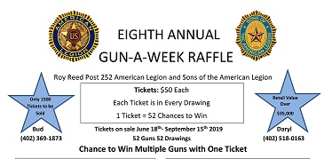 Winside Legion Picnic Scheduled For Sunday, Gun-A-Week Raffle Tickets Will Be Available