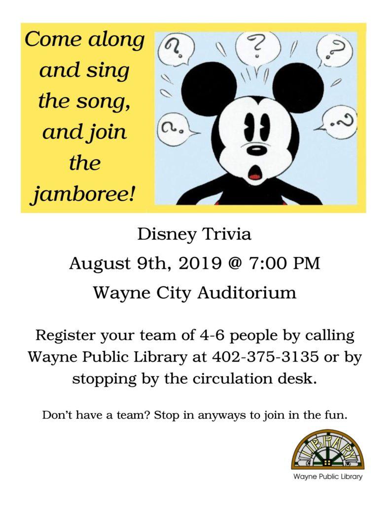 The Wayne City Auditorium Will Host Adult Disney Trivia Night Friday, August 9th