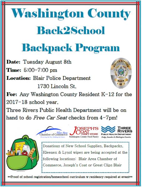Washington Co. Back 2 School Backpack Programs needs Donations