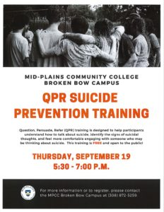 QPR Suicide Prevention Training At MPCC Broken Bow Campus Thursday; Free And Open To Public