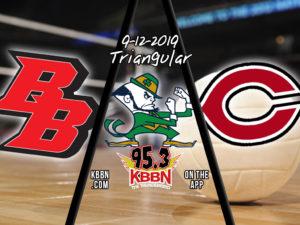 Local Sports Calendar 9/12 - High School Volleyball on KBBN - Broken Bow at NPSP Triangular