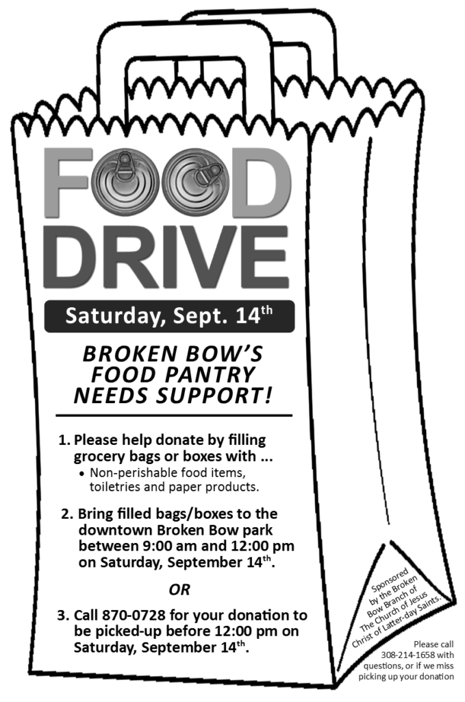 Food Drive For Broken Bow Food Pantry Saturday, September 14