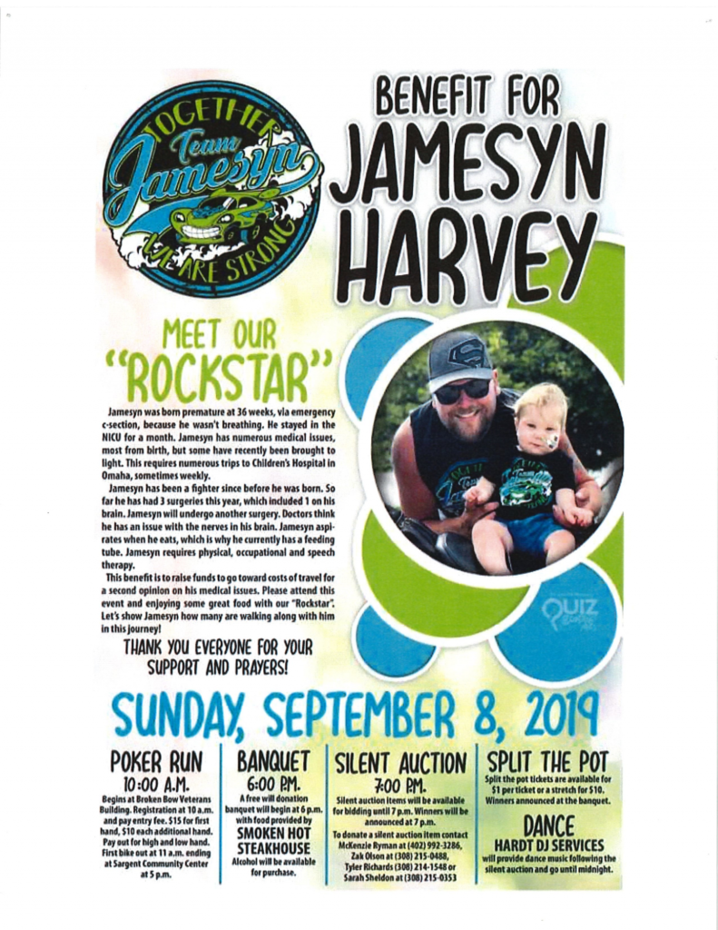 Jamesyn Harvey Benefit On Sunday, September 8