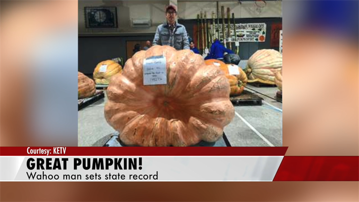 Wahoo man sets state record with giant pumpkin