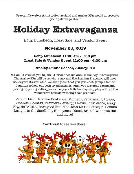 Spartan Travelers And Ansley FFA Hosting Holiday Extravaganza On Saturday