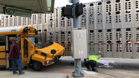 Downtown Broken Bow Accident Between School Bus And Semi Result In No Injures