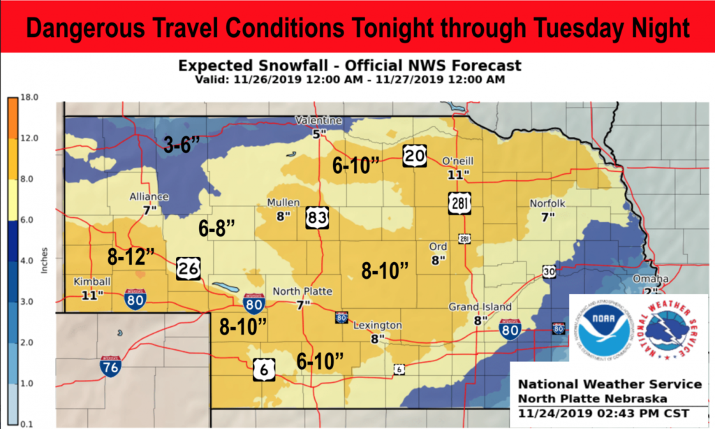 Dangerous Travel Conditions Forecasted Tonight Through Tuesday Night
