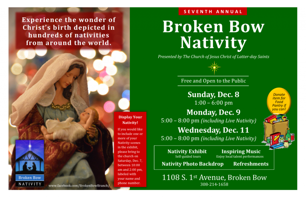 Broken Bow Nativity Display and Live Nativity – Dec. 8, 9 and 11