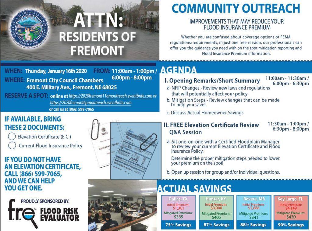 City of Fremont Hosting Flood Proofing & Flood Insurance Informational Meetings