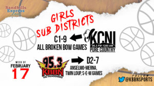 Girls Sub District Basketball on KCNI/KBBN  Broken Bow at C1-9 Sub / A-M, SEM, and Twin Loup at D2-7