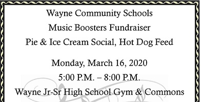 Pie & Ice Cream Social, Hot Dog Feed Scheduled For Monday Is Now Postponed