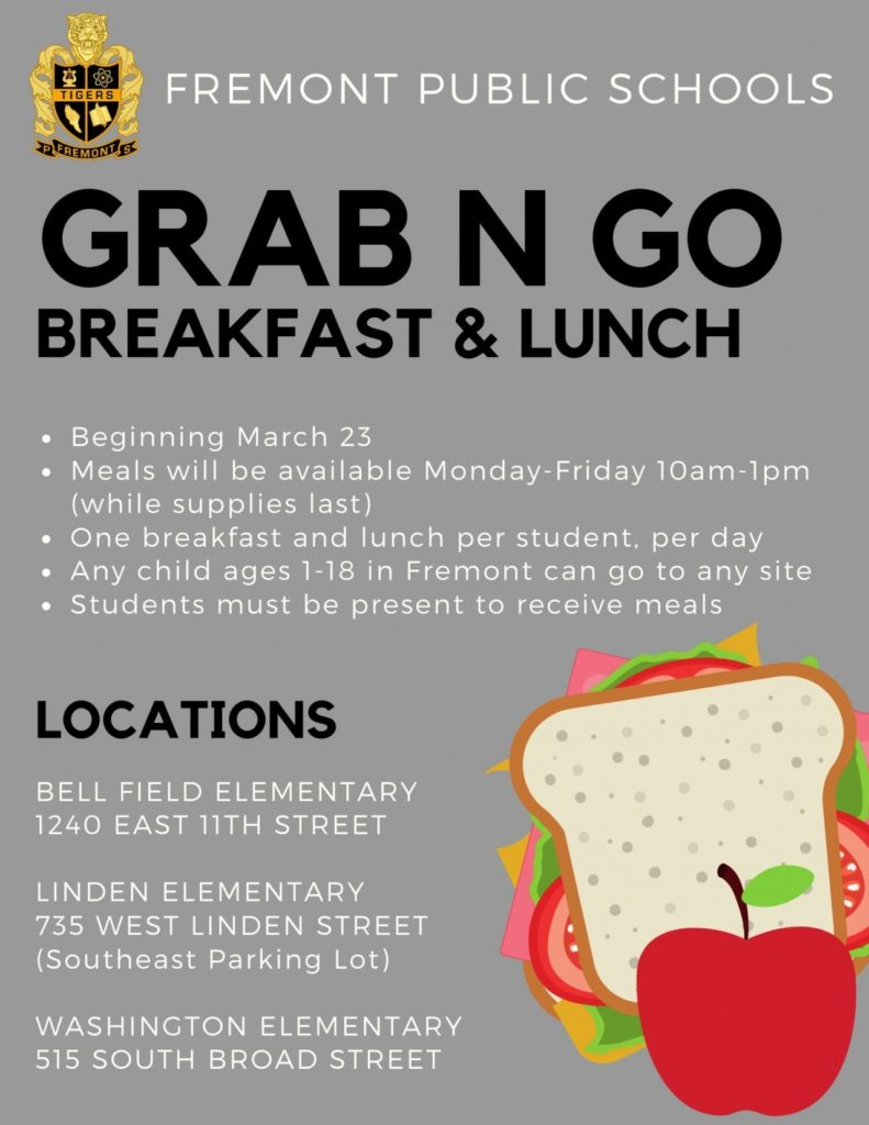 Fremont Public Schools to Provide Grab & Go Meals for Children, Beginning March 23
