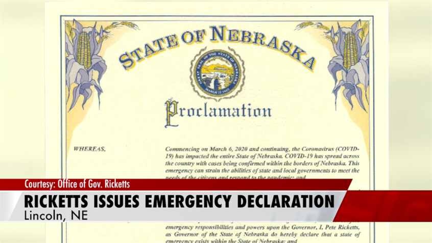 Gov. Ricketts Issues Emergency Declaration for COVID-19