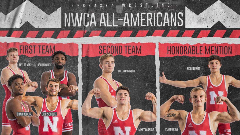 NWCA Honors Eight Husker Wrestlers