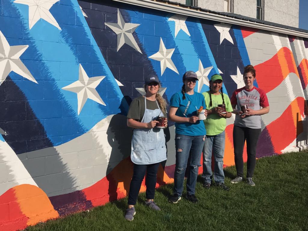 American Flag Mural Painted in Ansley to Honor Veterans