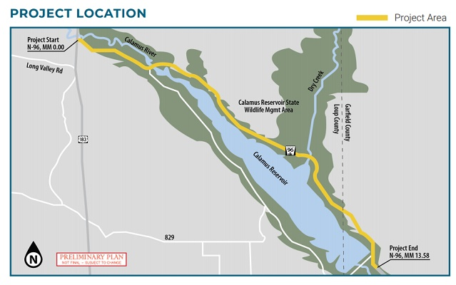 Work to begin on N-96 to US-183 Loup County Near Calamus Reservoir