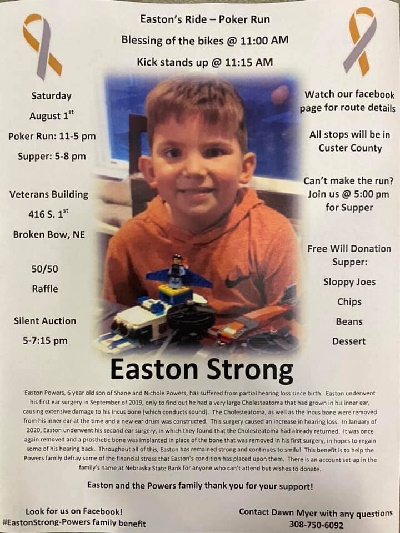 Benefit to Support 6 Year Old Easton Powers and Family on August 1