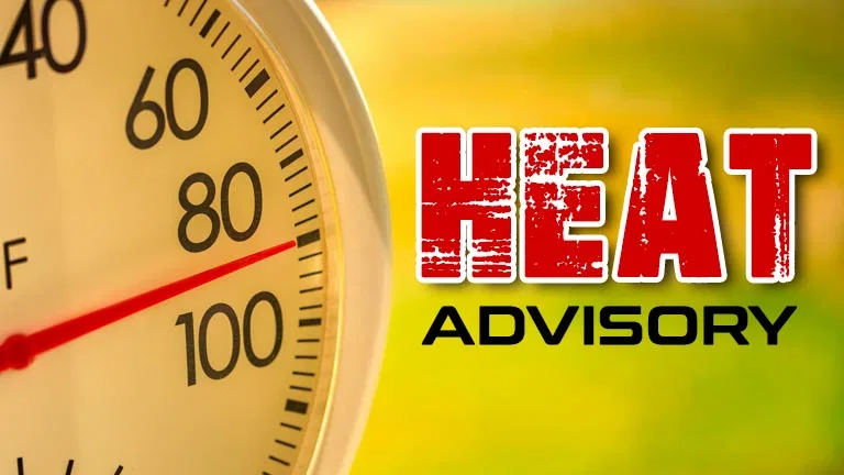 Heat advisory in effect from 2 PM to 8 PM Friday