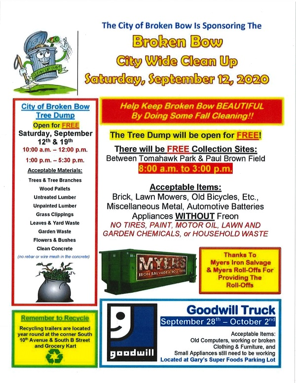 Broken Bow City Wide Clean Up Saturday, September 12