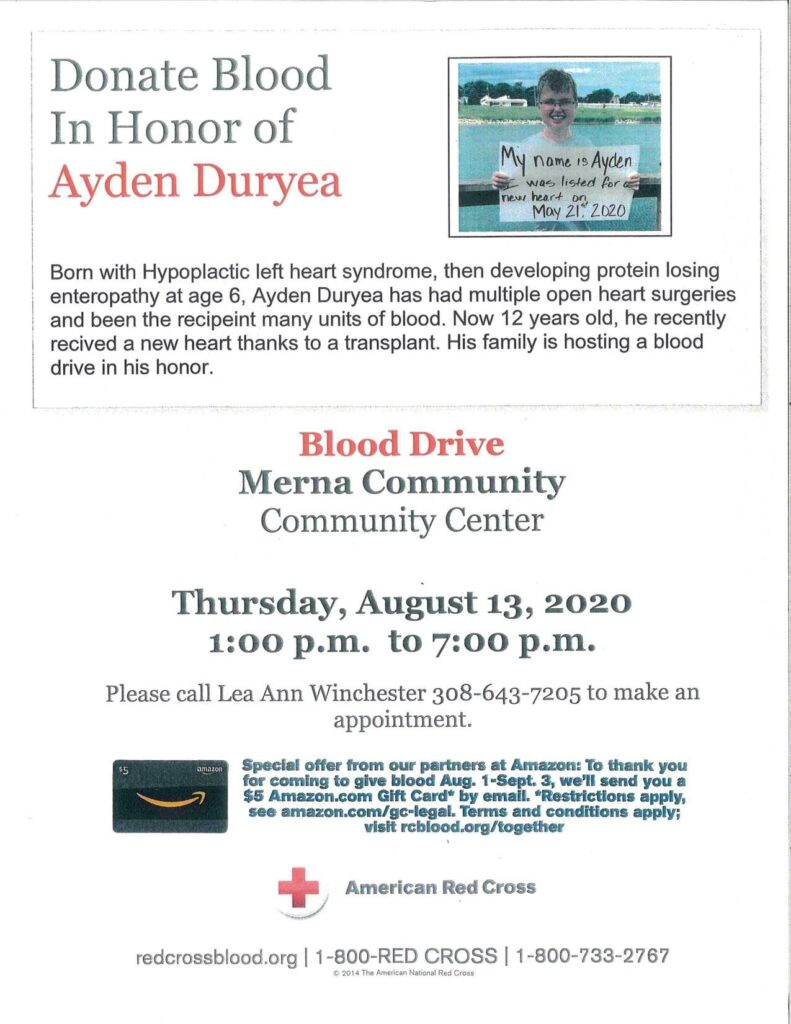 Merna Blood Drive in Honor of Heart Transplant Recipient, 12-year-old Ayden Duryea