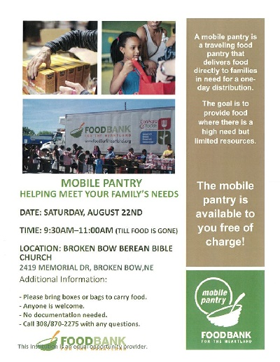 Mobile Food Pantry in Broken Bow this Saturday 8/22
